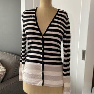St. John Wool Blend Striped Cardigan Sweater